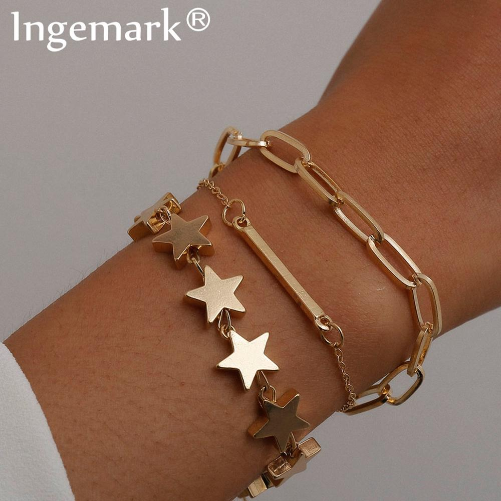 High Quality Boho Punk Heavy Metal Star Chain Bracelet Bangle Women Men Armband Steampunk Lock Bracelets Friend Couple Jewelry