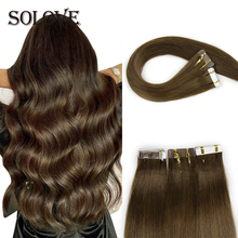 Tape In Human Hair Extensions Straight Seamless Invisible Natural Machine Made Remy Adhesive Extension 20pcs