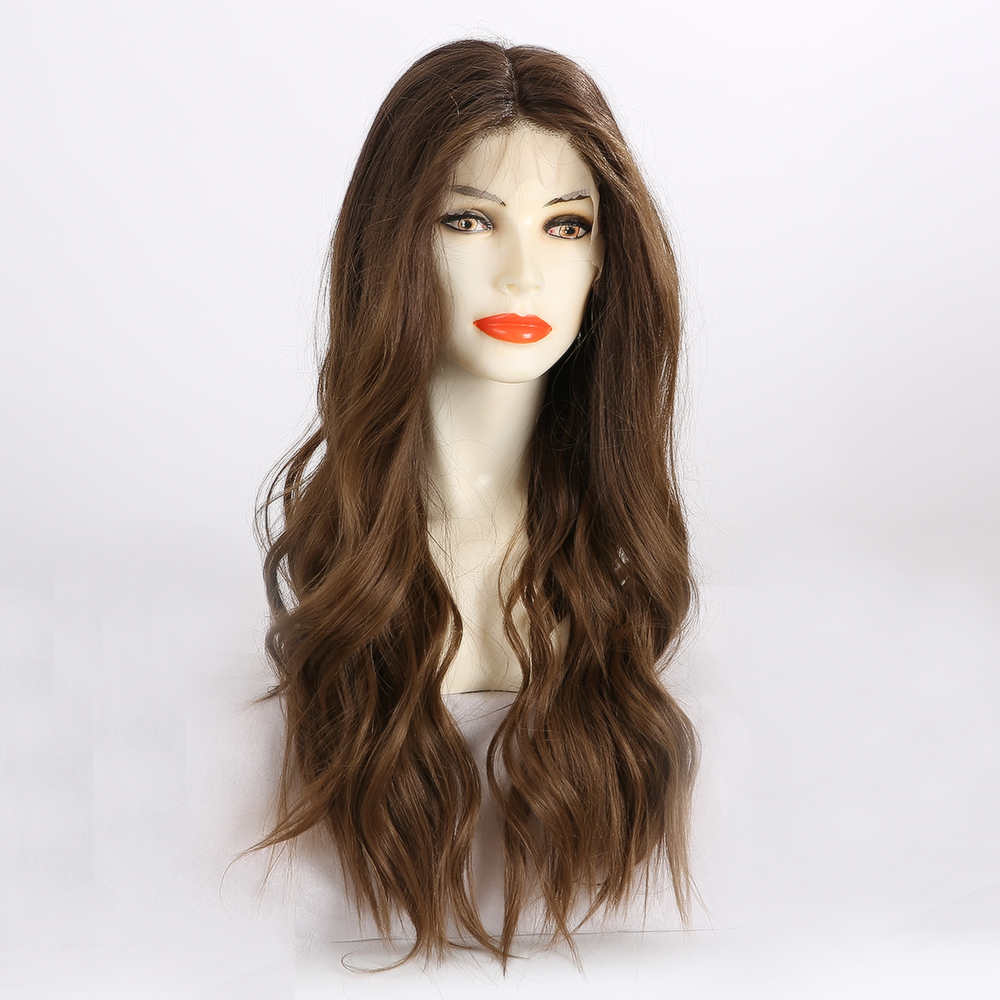 EASIHAIR Brown Wavy Lace Front Synthetic Wigs with Baby Hair Long Lace Wigs for Women High Density Heat Resistant Natural Hair