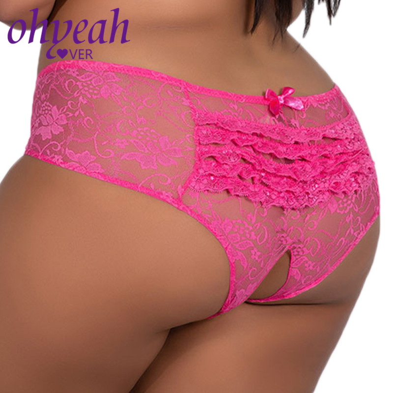 Lace Underwear Plus Sizes Crotchless Panties