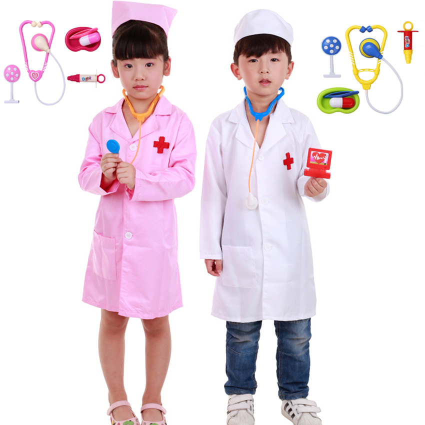 Carnival Children Cosplay Doctor Costumes For Kids Halloween Party Nurse Wear Fancy Girl Boy Clothing Surgery Toy Set Role Play