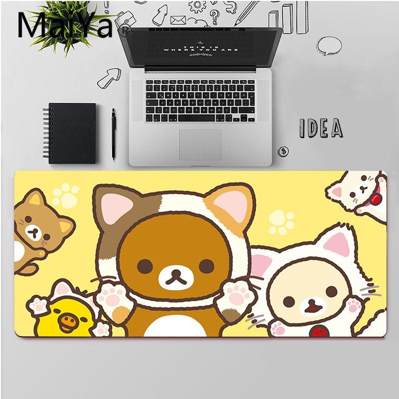 Высококачественный Прочный резиновый коврик для мыши Maiya Cute rilakkuma, бесплатная доставка, большой коврик для мыши, коврик для клавиатуры-2