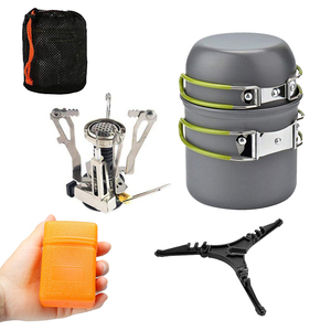 Camping Cookware Set 3000W Camping Stove Burner Cooking Pots Pans Tank Bracket For Outdoor Picnic Camping Hiking Backpacking