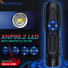 Brightest LED Flashlight XHP90.2 XLamp Tactical waterproof Torch Smart chip control With bottom attack cone USB rechargeable