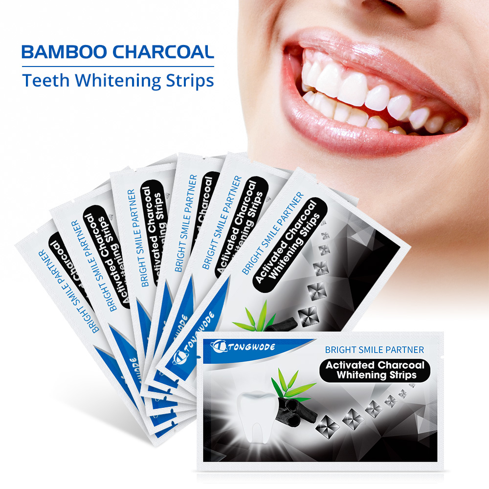 Dental Bleaching 14 Pieces Teeth Whitening Strip Activated Charcoal Coconut Veneer White Teeth Strips For Tooth Stains Remover