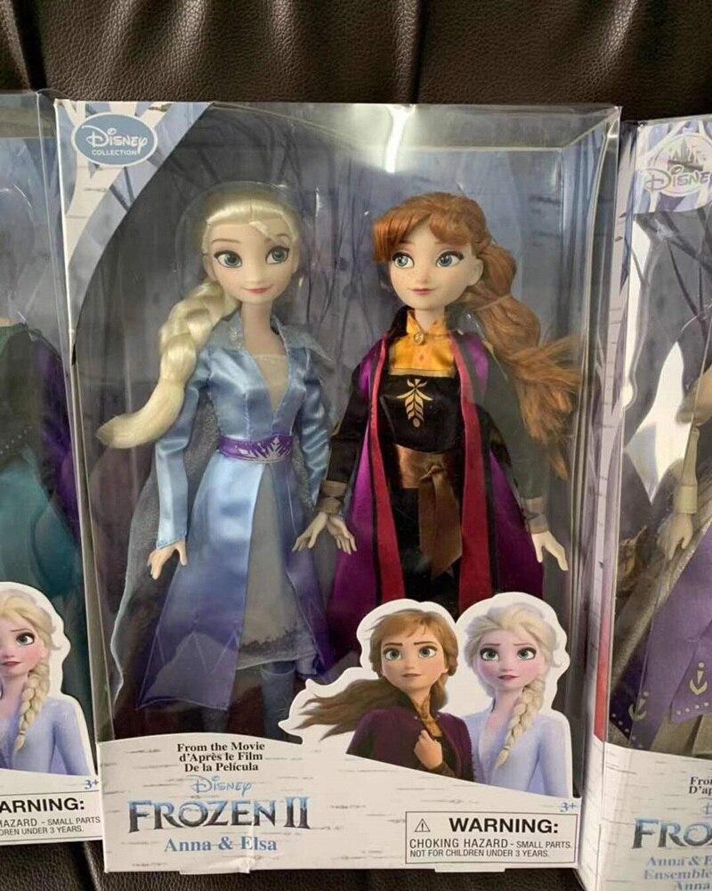 Disney brinquedos congelados 2 novos elsa e anna princesa boneca brinquedos com acessórios conjuntos olfa coleção da menina bonecas crianças presentes com caixa