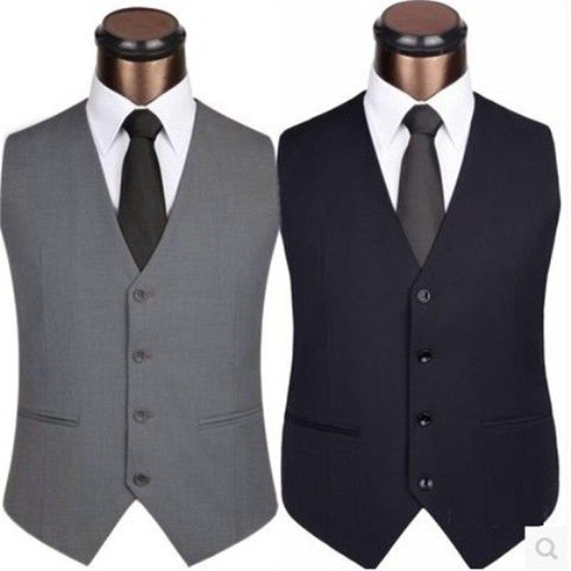 2019 New Men Formal Dress Suit Vests Slim Fit Man Suit Vest Male Wedding Party Waistcoat Homme Casual Sleeveless Business Jacket