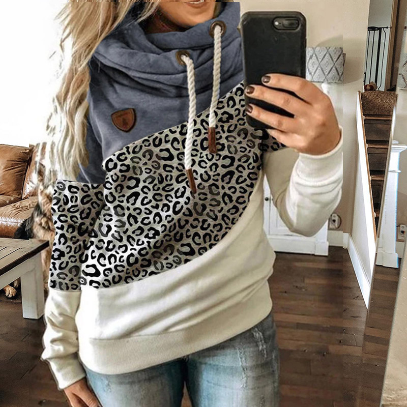 Permalink to Winter Leopard Print Sweatshirts Women Casual Turtleneck Long Sleeve Hoodies Fashion Drawstring Patchwork Female Pullovers Tops