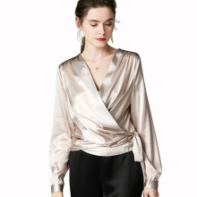 Women Silk Satin Blouse Sexy Cross V Neck Long Sleeve Side Lace Up Bow Tassel Beading Pure Silk Blouse Satin Wrap Blouse Women raglan sleeve knot side blouse