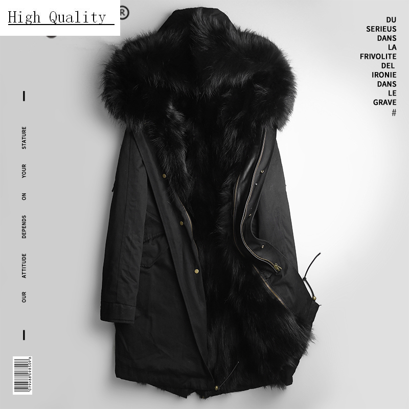 Winter Real Fur Coat Men Clothes 2020 Streetwear Thick Warm Raccoon Fur Liner Long Jacket Hooded Fashions Casaco PKF1111
