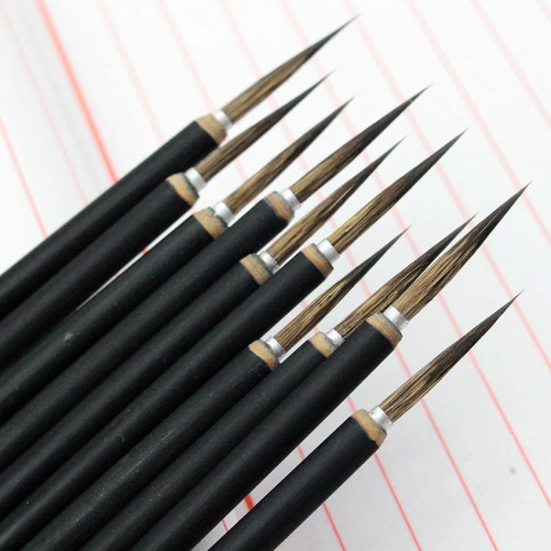 3pcs/set Chinese Calligraphy Brush Copper Head Hook Line Fine Paint Brush Pen Weasel Mouse Whisker Stone Badger Hair Paint Brush