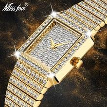 Missfoxダイヤモンド女性の高級ブランドレディースゴールド正方形ミニマリズムアナログクォーツmovtユニークな女性アイスアウト腕時計