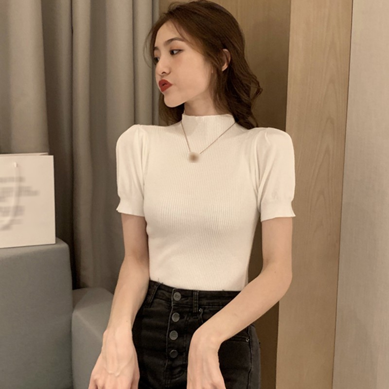 Women Slim Puff Sleeve Knitted T-Shirt Short Sleeve Solid Color Sexy Ladies Summer Tee Shirt Tops 3