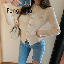 FENGGUILAI New Arrival 2019 Spring  Autumn Women Knitted Cardigan Cotton Sweater Coat O-neck Solid Slim Jacket Female XL-4XL