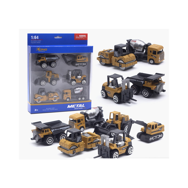 6 Metal Diecast Toy Vehicles Alloy Toy Car Toy model 1:64 Roller Dump Truck Excavator Bulldozer Tanker Forklift Tractor Toy Set image
