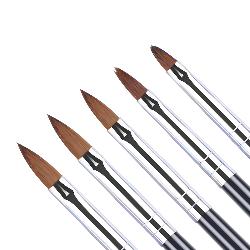 5PCS Acrylic Brush Size 2# 4# 6# 8# 10# Nail Art Brush Carving Flower Pen UV Gel Drawing Painting Brush Handle Nail Art Tool