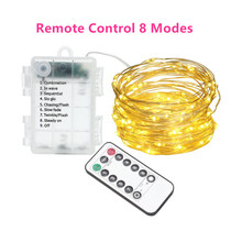 Twinkle-String-Lights Christmas-Decoration Remote-Control Led-Fairy-Garland Silver-Wire