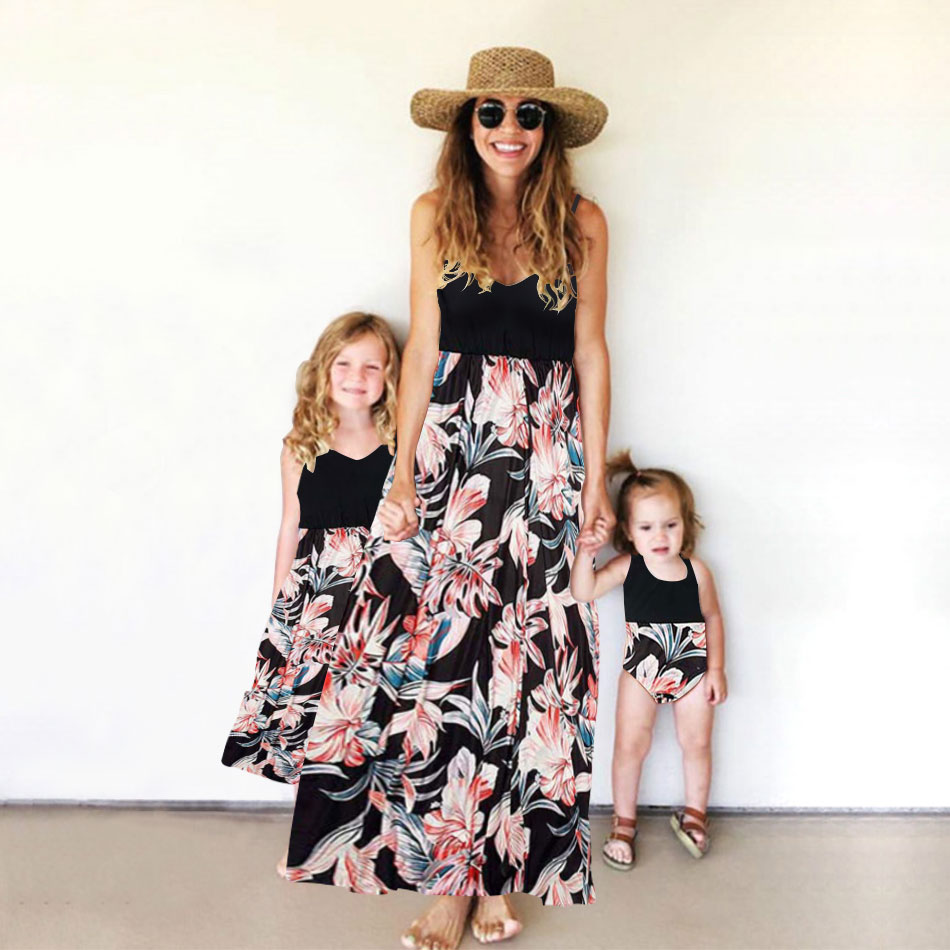 Tank Mother And Daughter Matching Dresses Flower Print Mommy And Me Clothes Family Look Mom Mum Baby Girls Dress Family Outfits