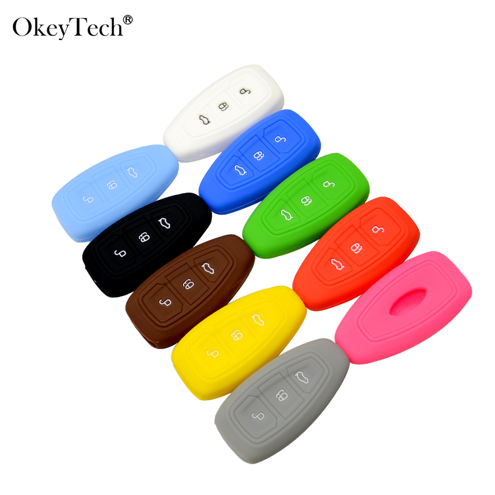 Okeytech Silicone Car Key Case Cover For Ford Mondeo Focus 2 3 4 Kuga Edge Fusion Ecosport Fiesta C-Max Ka Galaxy Fob Holder