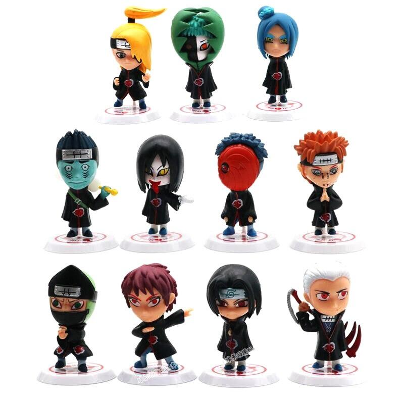 Naruto Action Figure Toys Q Style Zabuza Haku Kakashi Sasuke Naruto Sakura PVC Model Doll Collection Kids Toy 6PCS/lot