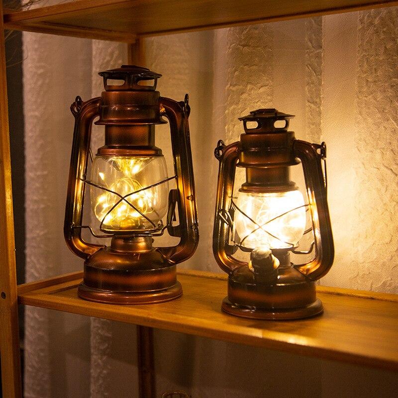 Holiday Lighting LED Night Light Retro Kerosene Vintage Lantern Battery Table Lamp Bedside Hanging Light For Home Bedroom Decor