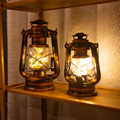 Holiday Lighting LED Night Light Retro Kerosene Vintage Lantern Battery Table Lamp Bedside Hanging Light For Home Bedroom Decor