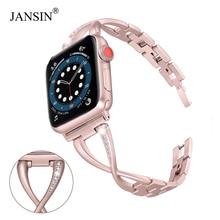 Pulseira de relógio feminino para apple pulseiras de relógio 38mm/42mm/40mm/44mm diamante pulseira de aço inoxidável para iwatch series 6 se 5 4 3 2 pulseira