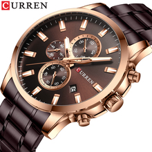 цена на CURREN Creative Brown Men's Sport Watch 3 Dial Analog Quartz Date Multifunction Stainless Steel Strap Military Wristwatch Clock
