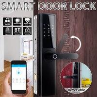 Smart Fingerprint Türschloss Sicherheit Intelligente Elektronische Wifi Türschloss Mit bluetooth Passwort Karte APP Schlüssel Entriegelung 5 Möglichkeiten-in Elektroschloss aus Sicherheit und Schutz bei