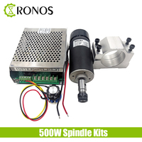 Air Cooled Spindle 500W CNC Spindle Motor Kit + Adjustable Power Supply 52MM Clamps Chuck For Engraving Machine.