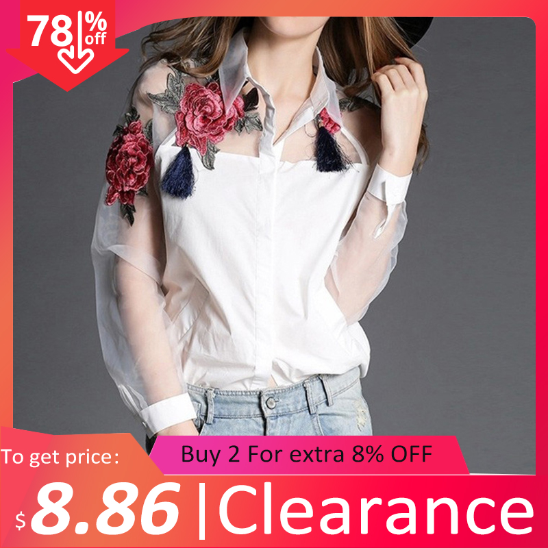 2020 Spring Clearance Women Cotton White Shirt Vintage Embroidery Transparent Blouse Mesh Tassel Patchwork Lantern Sleeve Tops
