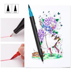 Image 5 - 48/60/72/100 ألوان مائية علامات لرسم مجموعة أدوات رسم المهنية المياه تلوين فرشاة مجموعة أقلام طرف مزدوج للمدرسة