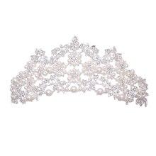 Tocado nupcial Vintage princesa corona boda perla accesorios para el cabello strass nupcial