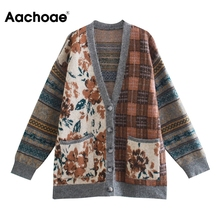 Cardigan Sweater Outerwear Knitted Tops Long-Sleeve V-Neck Casual Women Print Home Aachoae