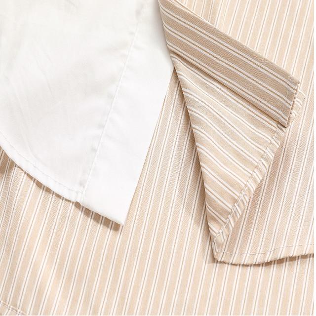 women's shirt 2020 New Lapel Striped Big Size Fashion Tide Spring Autumn Women Khaki Blouse  Long Sleeve Loose Fit Shirt 6