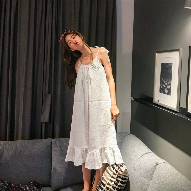 2019 Sleep Lounge Women Cotton   Nightgowns   &   Sleepshirt   Sleepwear BF Style Nightdress Cute Princess Spaghetti Strap Nightwear