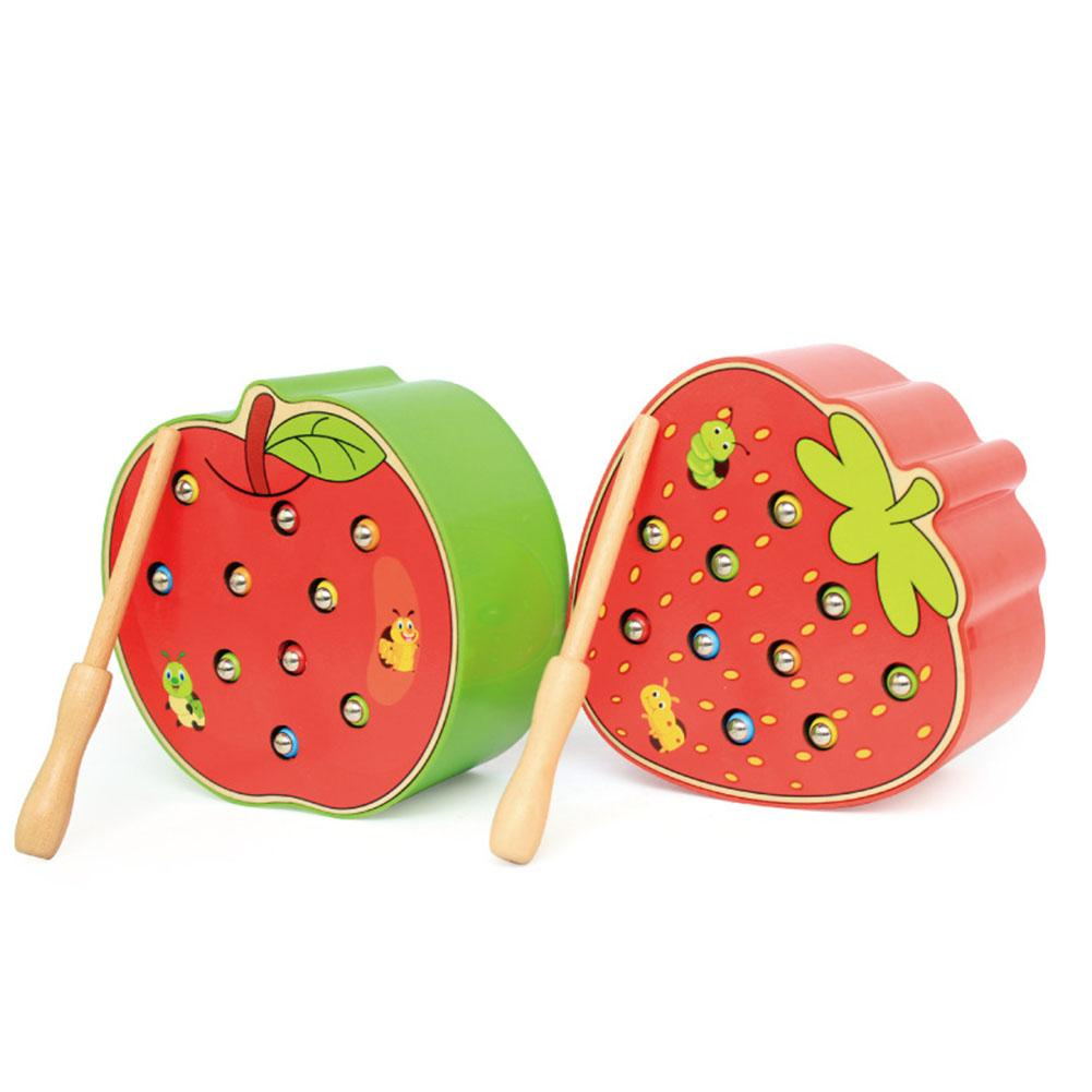 Funny Fruit Shape Wooden Magnetic Catch Worms Game Interactive Kids Toy Gift Early Childhood Educational Toys image