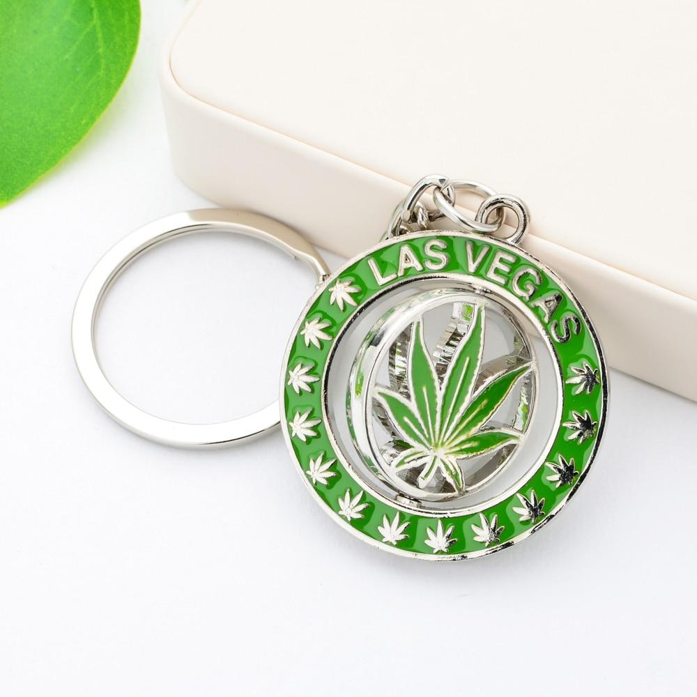 Vicney Вращающийся брелок в виде листа каннаби в Лас-Вегасе, светильник для ключей с зеленым растением для мужчин и женщин, круглый брелок из цинкового сплава для друзей
