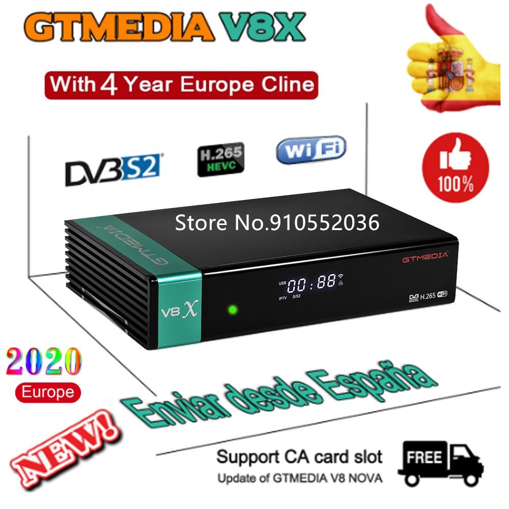 Novo gtmedia v8x receptor de tv por satélite gtmedia v8 nova honra atualizado freesat v9 super com europa cline por 4 anos espanha polónia