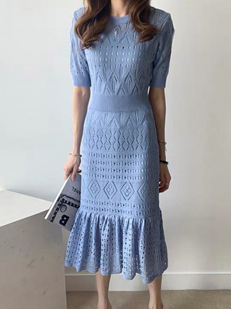2019 New Runway Autumn Winter Chic Elegant Knitting Sweater Casual Dress Hollow Out Knitted Slim Pleated Stretch Dresses Vestido