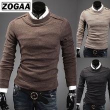ZOGAA 2019 Men Sweaters New Business Casual Mens Self-cultivation Round-neck Pullover Tide Knitted Sweater