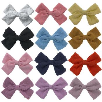 Baby Girls Hair Clips Bubble Jacquard Fabric Bow Barrette For kids Polka Dot Hairpin Cotton Linen Side Clip Children Vocation