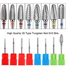 1pcs Professional Tungsten Carbide Nail Drill Bits Electric Manicure Machine Mills Cutter Flame Burr Removal Accessory GLYS01-30
