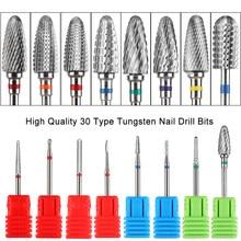 1 pièces professionnel carbure de tungstène ongles forets électrique manucure Machine moulins Cutter flamme bavure enlèvement accessoire GLYS01-30