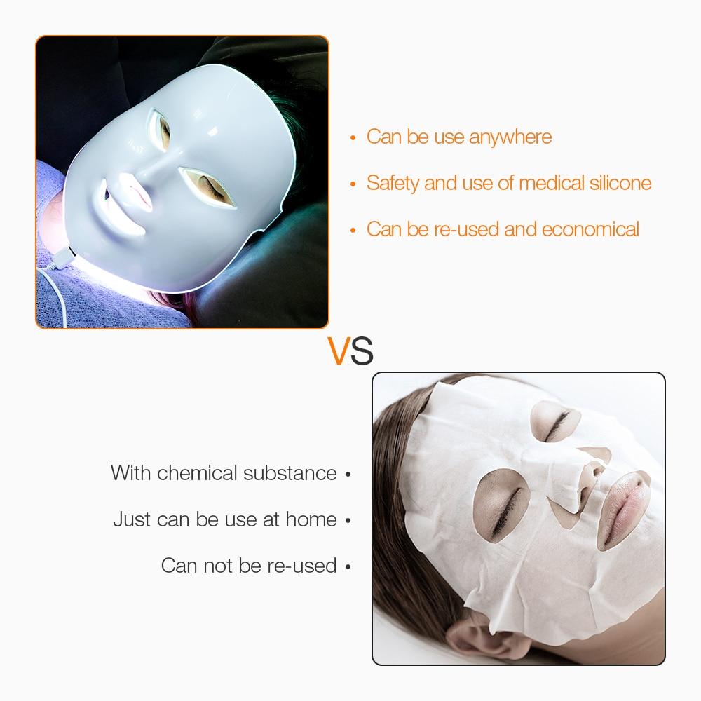 Image 2 - 7 colores Led máscara Facial belleza cuidado de la piel rejuvenecimiento arrugas eliminación de acné Facial terapia de belleza blanqueamiento instrumento de ajuste-in Máscara LED from Belleza y salud on AliExpress