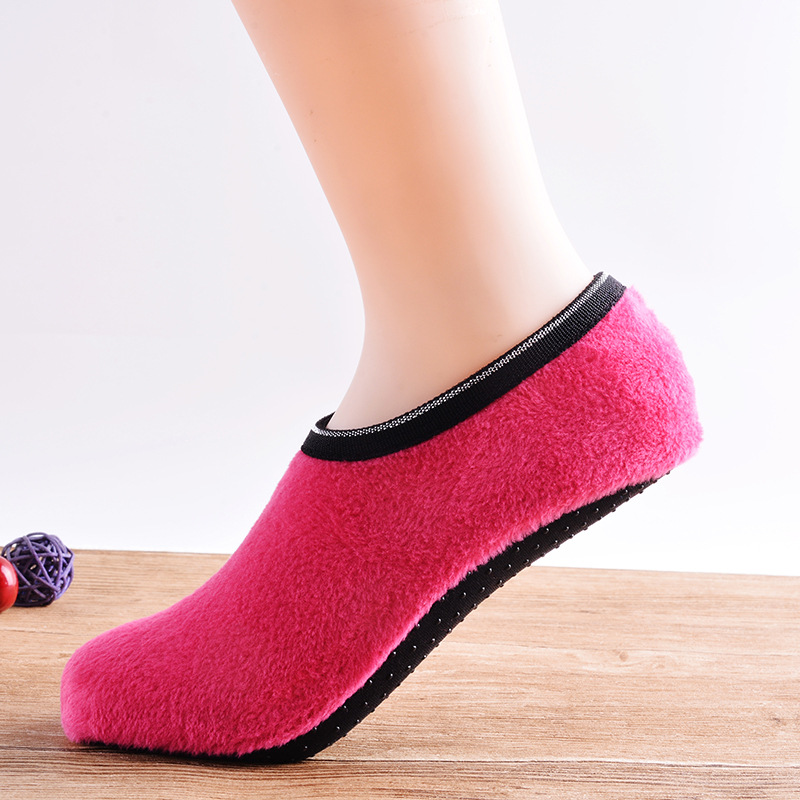 1 Pair Warm  Winter Floor Socks Women Socks Floor Socks Velvet Indoor Short Anti-skid Boat Socks Solid Color Warm Sock Slippers