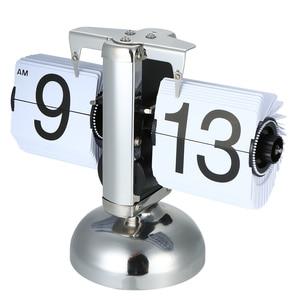 Image 2 - 플립 디지털 시계 소규모 테이블 시계 레트로 플립 시계 스테인레스 스틸 플립 내부 기어 운영 석영 시계 홈 장식 탁상시계 clock