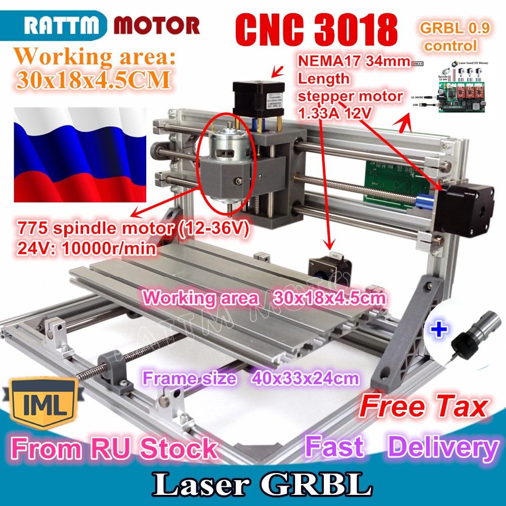 RU schiff 3018 GRBL control DIY mini CNC maschine arbeits bereich 300x180x45mm 3 Achse Pcb fräsen maschine, holz Router, cnc router v2.4