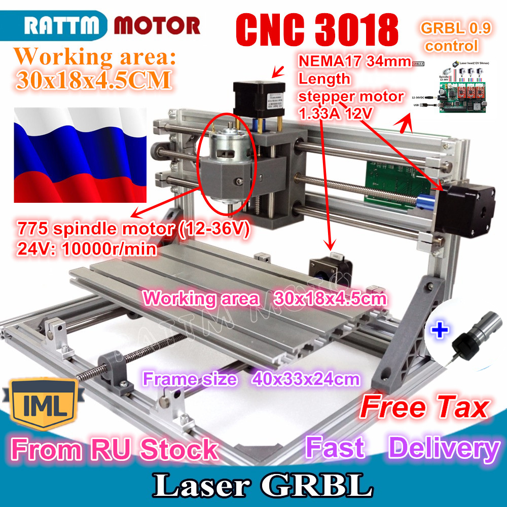 RU Ship 3018 GRBL Control DIY Mini CNC Machine Working Area 300x180x45mm 3 Axis Pcb Milling Machine,Wood Router,cnc Router V2.4