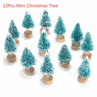 12PCS Mini Christmas Tree Sisal Silk Cedar Decoration Small Christmas Tree Desktop Home Decor Christmas Decoration Kids Gifts